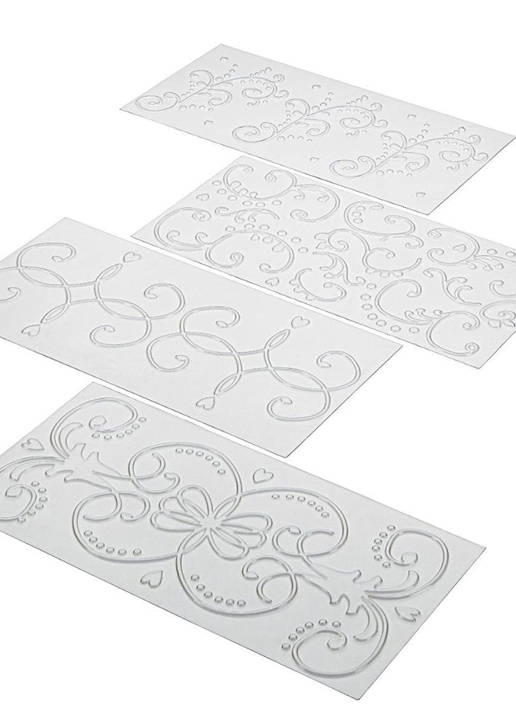 4PCS rolled vine lattice plastic DIY paper cutter molds cut and paste embossing folder clear textured mat cake cookie baking molds