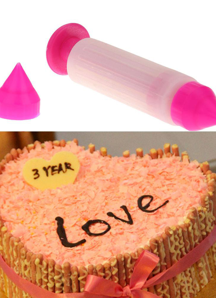 Silicone Cake Syringe Pen Cookies Cookies Pastry Cream Ice Cream Decorating Tool Two Nozzles
