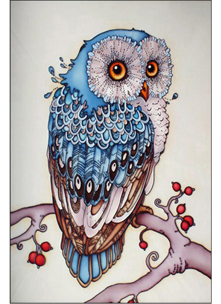 DIY handmade 5D diamond painting rhinestone paste cross stitch blue owl pattern home wall decorations