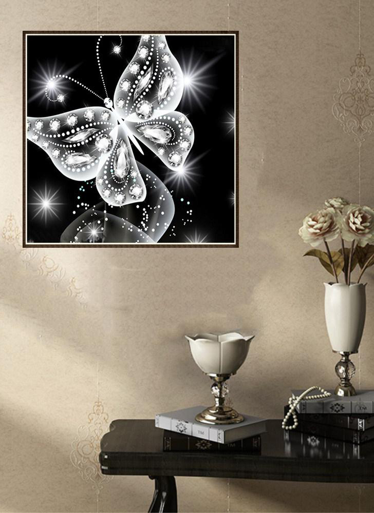 10*10inch/25*25cm DIY 5D diamond painting kit butterfly resin rhinestone mosaic embroidery cross embroidery process Home wall decorations