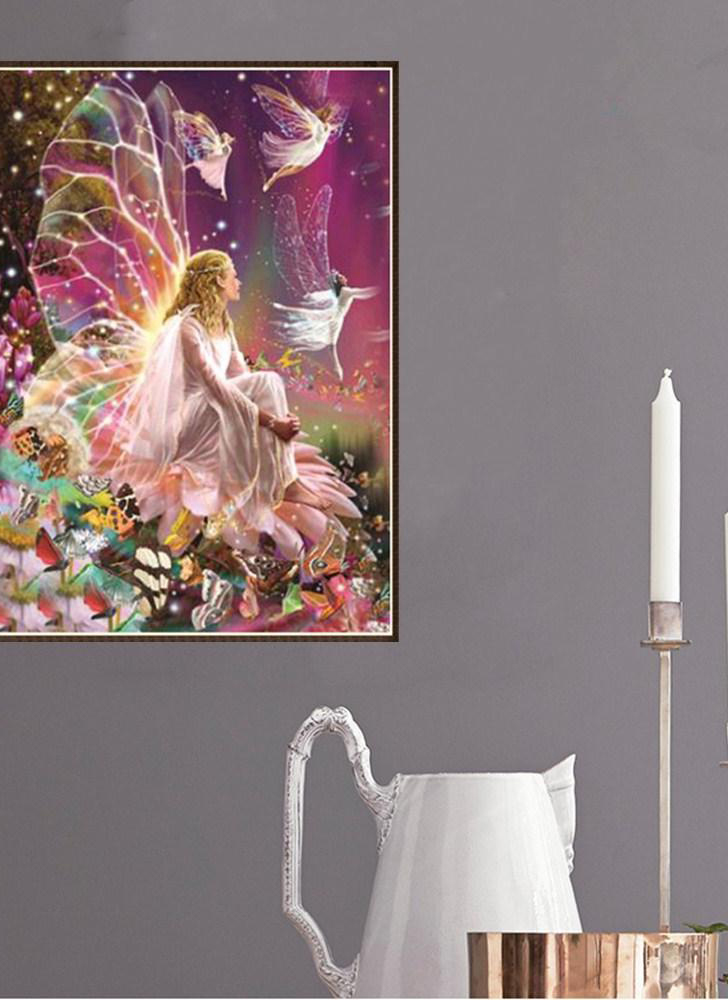 12*16 inch/30*40 cm DIY 5D diamond painting set fairy resin rhinestone mosaic embroidery cross-stitch craft Home wall decorations
