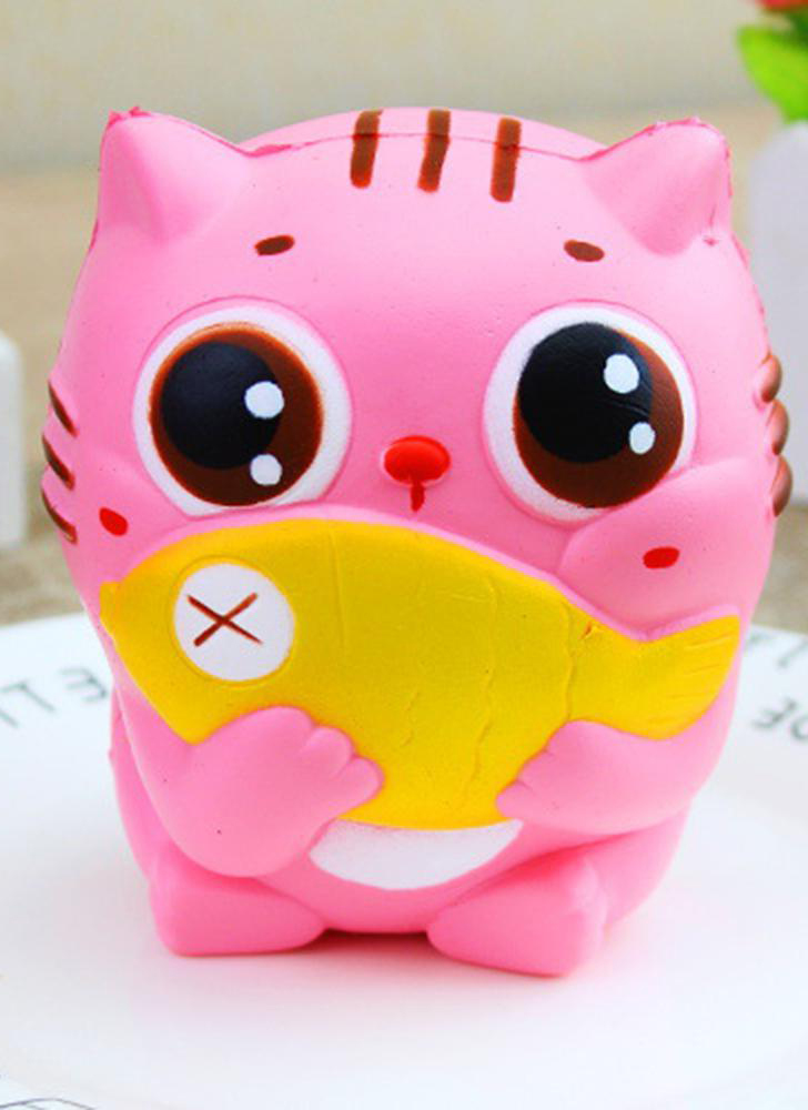 Delicate and funny soft cat cartoon plush slow rise squeeze toy mobile phone with ball chain simulation kawaii plush cream scented children and Adult Fish & Cat Toys