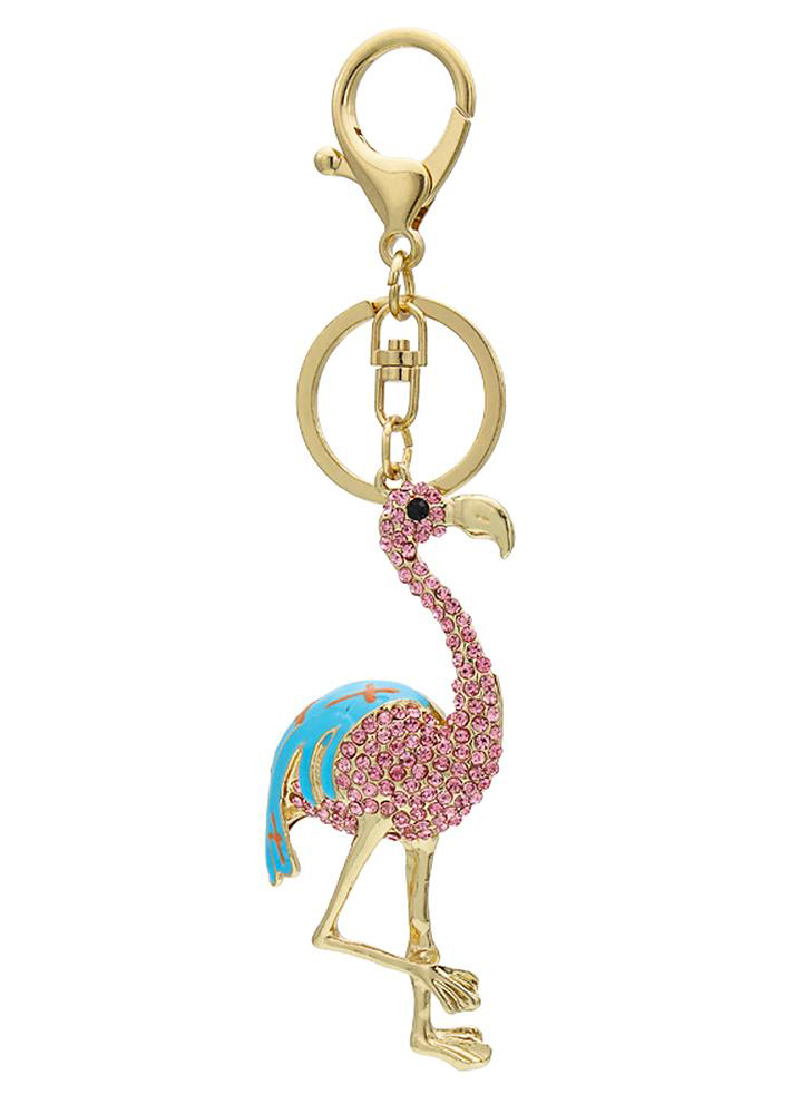 Flamingo zinc alloy rhinestone keychain keychain with clip hook handbag car charm decoration-pink