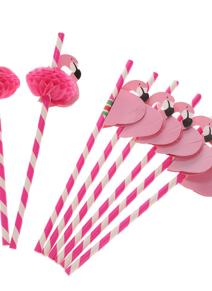 50pcs/set Lovely food grade paper straws for birthdays, weddings, baby shower celebrations and multipurpose straws for parties. decorated with flamingos