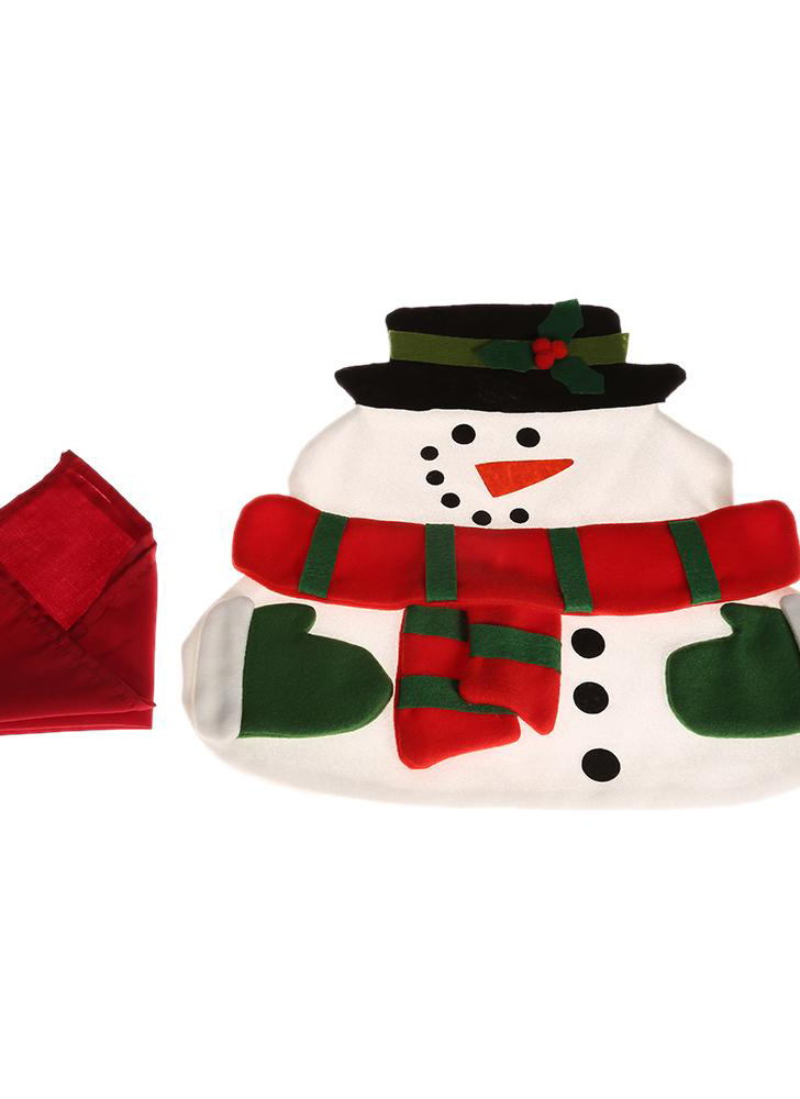 Christmas snowman placemat High quality placemat Soft double Christmas placemat with napkin