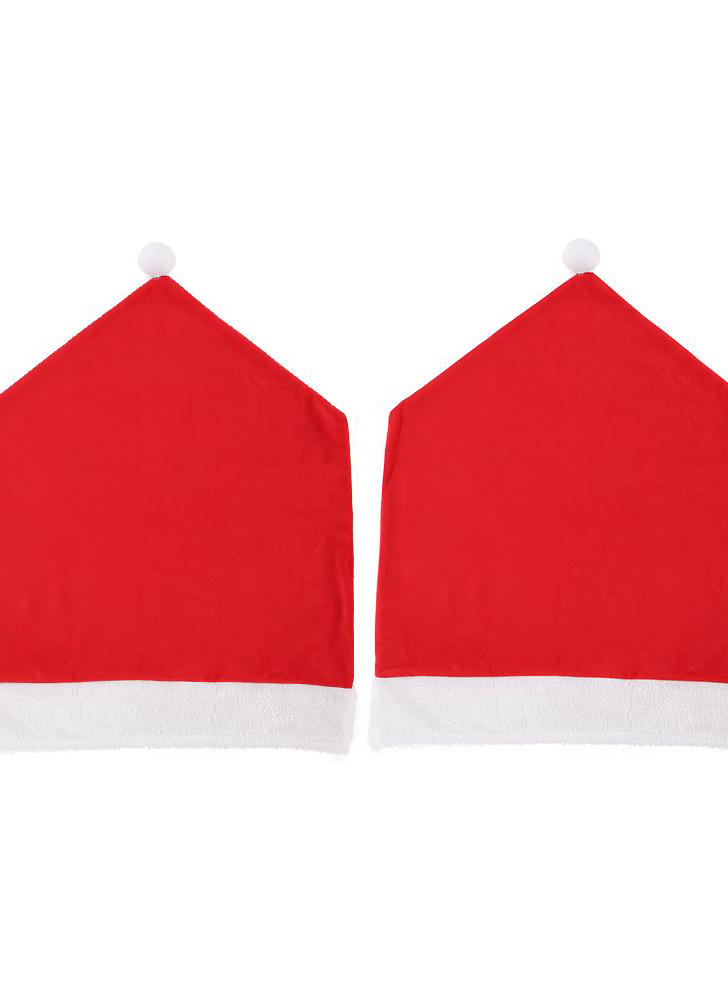 2pcs/set Christmas hat style chair back cover Christmas dinner slipcover set ornament set