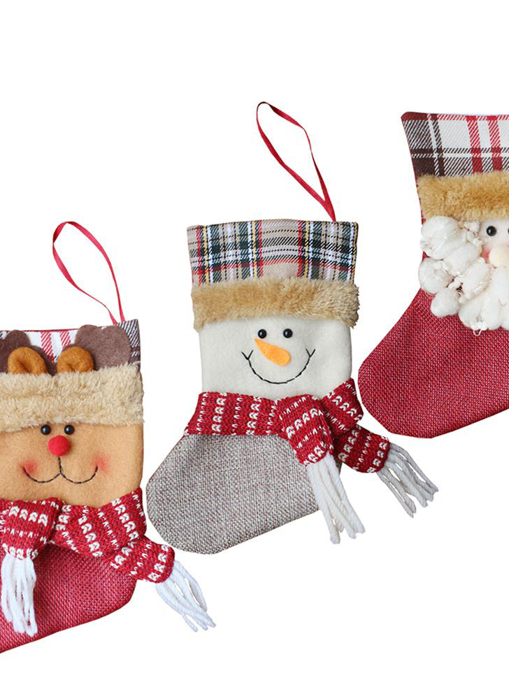 3pcs/set Christmas stockings, Santa Claus snowman, reindeer gifts, candy bags, Christmas ornaments and decorations