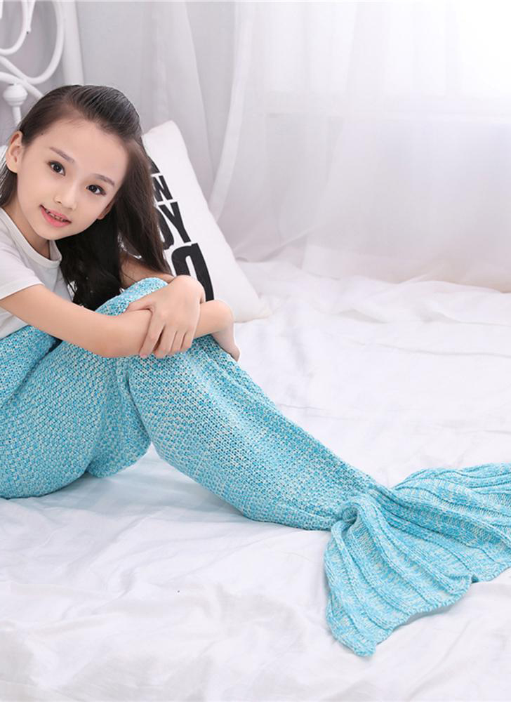 Hand Knit Blanket Funny Unique Life Size Mermaid Tail Blanket Female Girl Warm Winter Gift