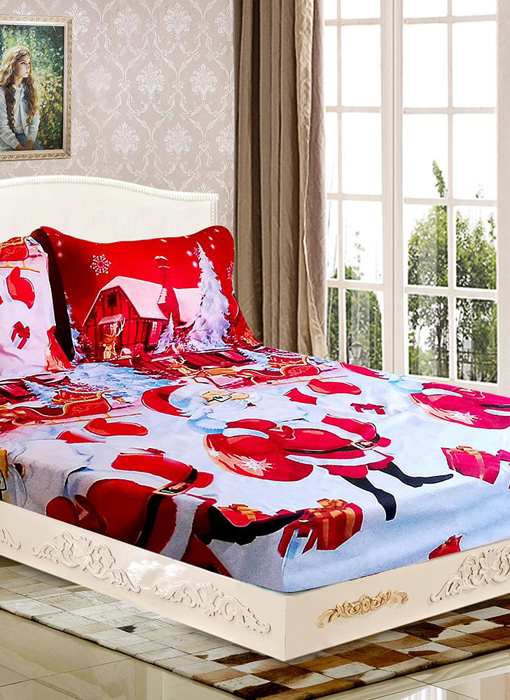 3pcs/set Santa Claus Bedding Set Microfiber 3D Printed Fitted Sheet + Pillowcase + Sheet Set Christmas Bedroom decorations