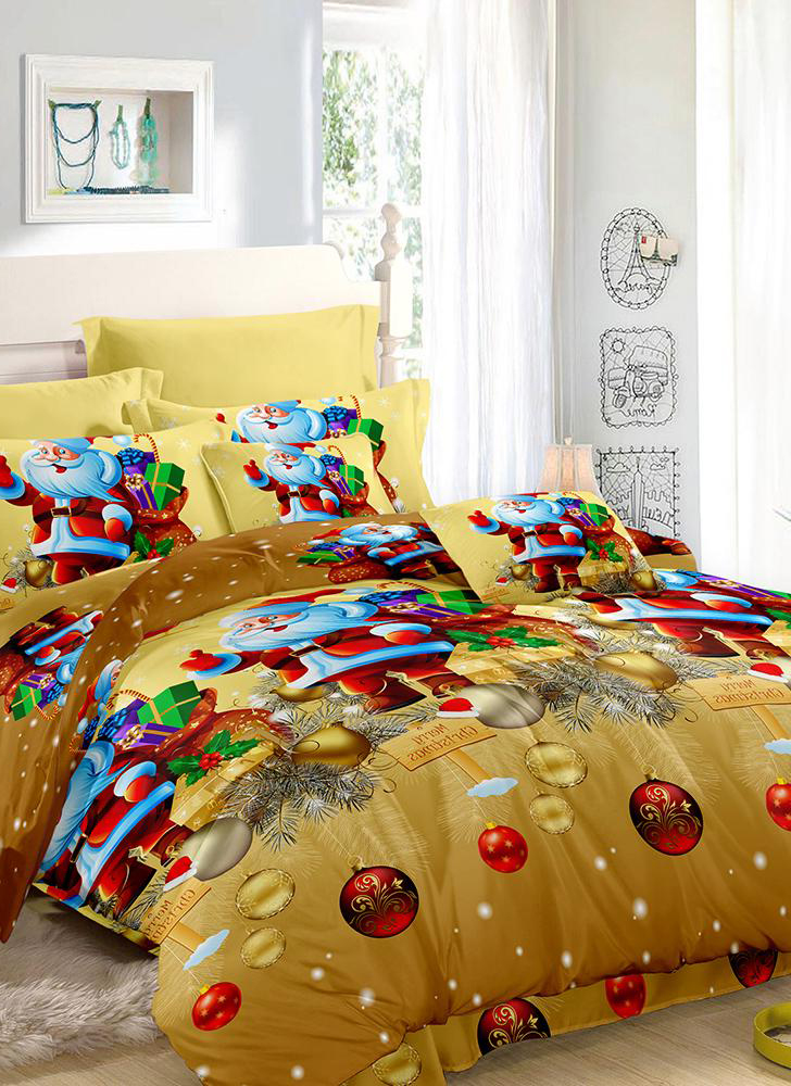 Christmas Santa Bedding Set Polyester 3D Printed Duvet Cover + 2 Pillowcases + Bedspreads Christmas Bedroom Decorations Set