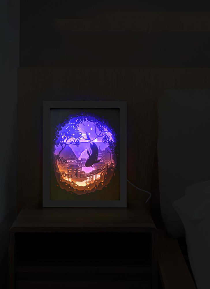 3D Cutout Light Box USB Powered LED Shadow Lights Decorative Night Light with Switch Bedroom Living Room Baby Nursery Wedding Gift