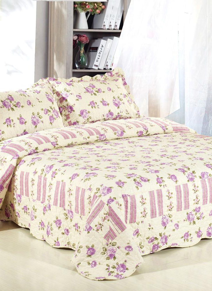3 Piece Bedding Set 230 * 260 CM Tartan Pattern Quilt Polyester Fiber Patchwork Quilt Pillowcase Bedding and Home Textiles