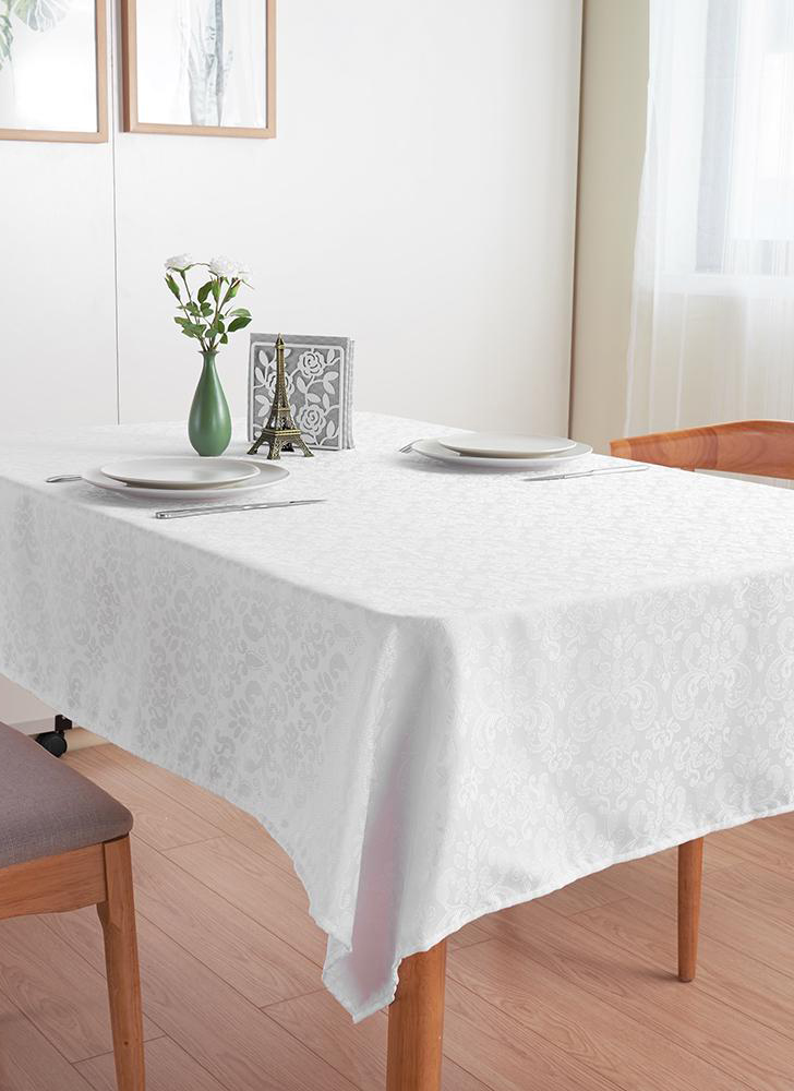 87 * 55'' white rectangular tablecloth polyester thickened tablecloth cover cloth for wedding and home festivities